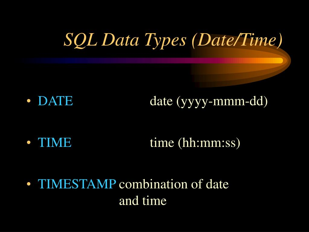 SQL Data Types (Date/Time)