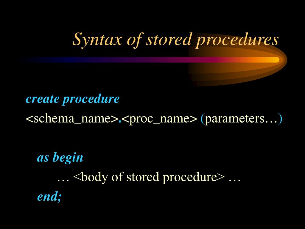 Syntax of stored procedures