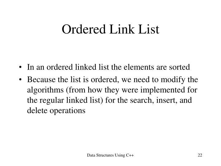 Ordered Link List