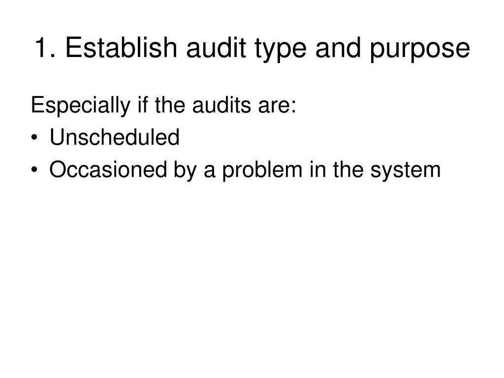 1. Establish audit type and purpose