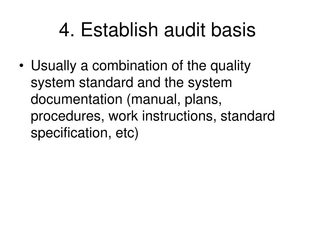 4. Establish audit basis