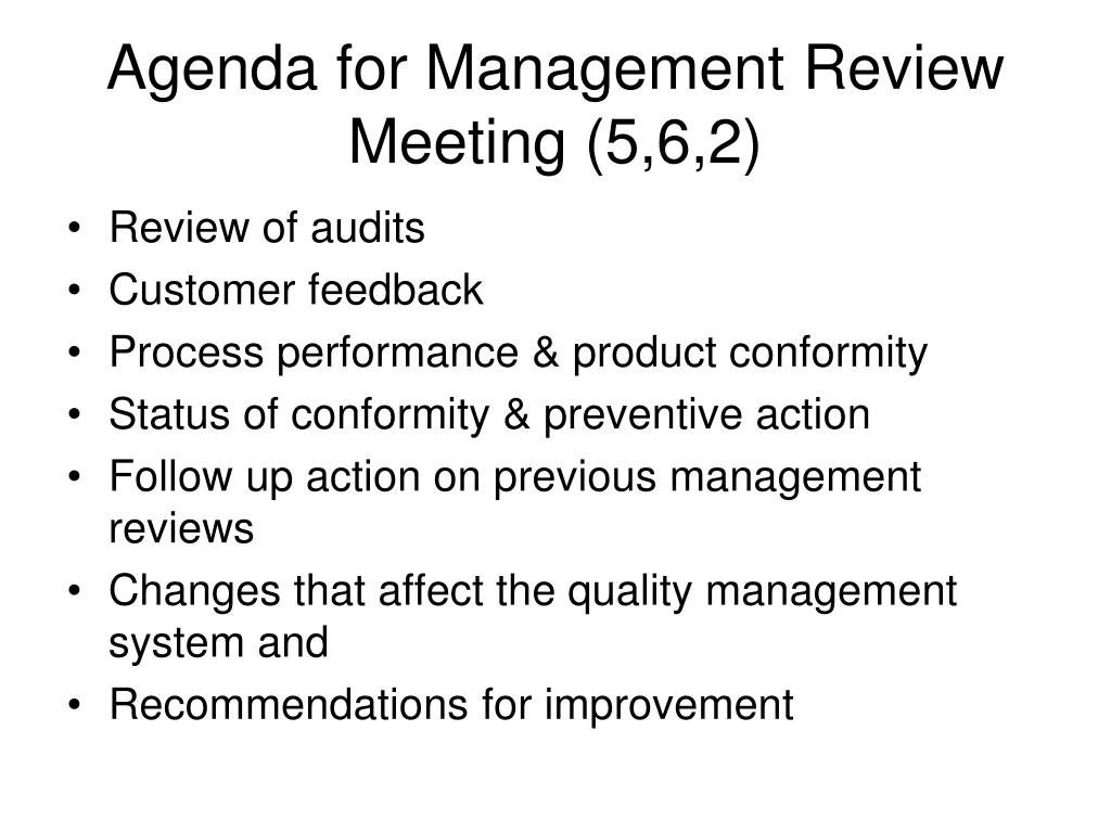 Agenda for Management Review Meeting (5,6,2)