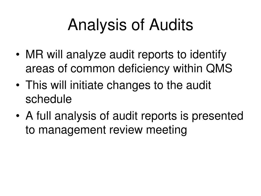 Analysis of Audits
