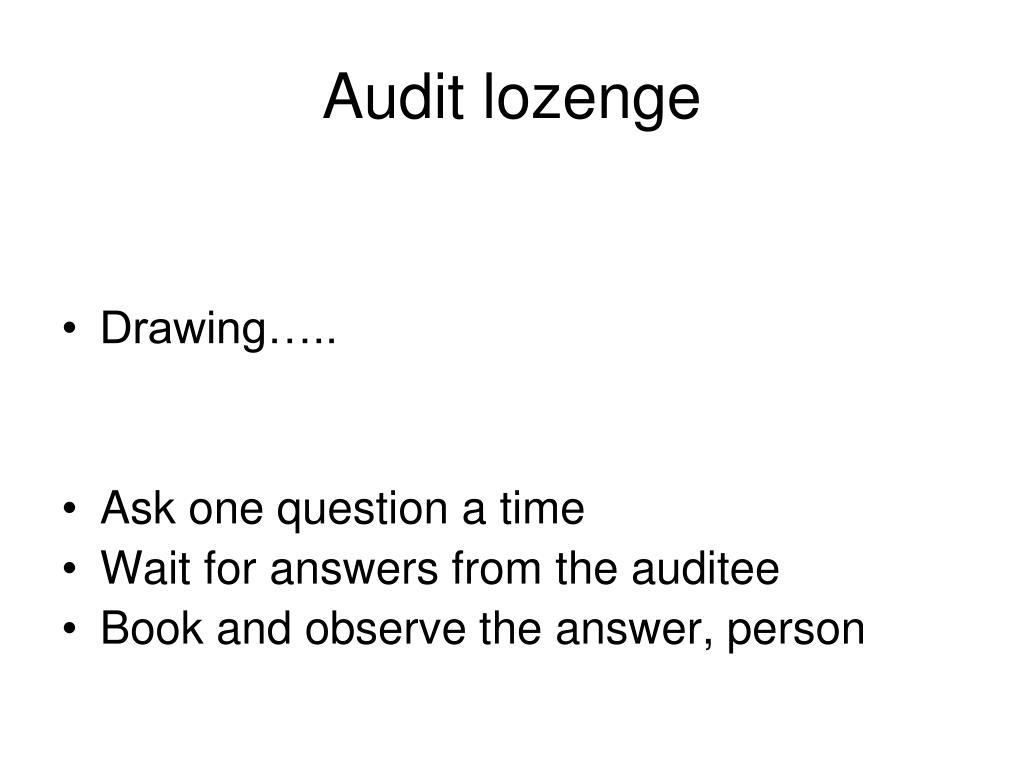 Audit lozenge