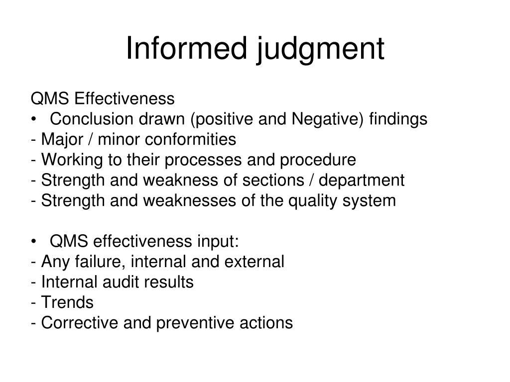 Informed judgment