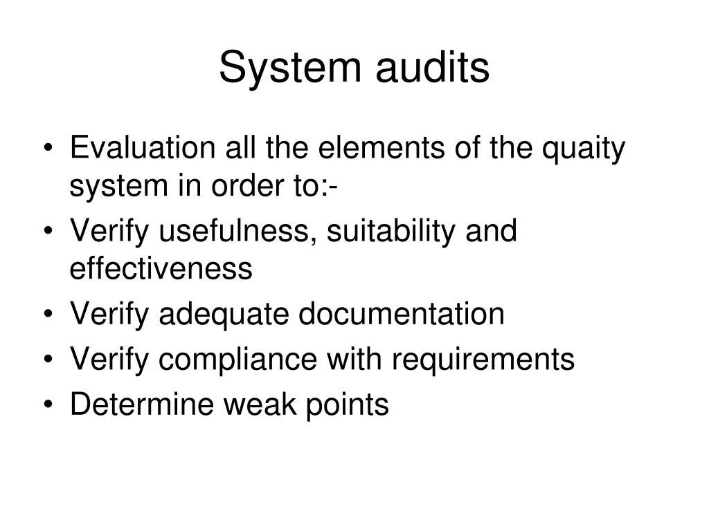System audits