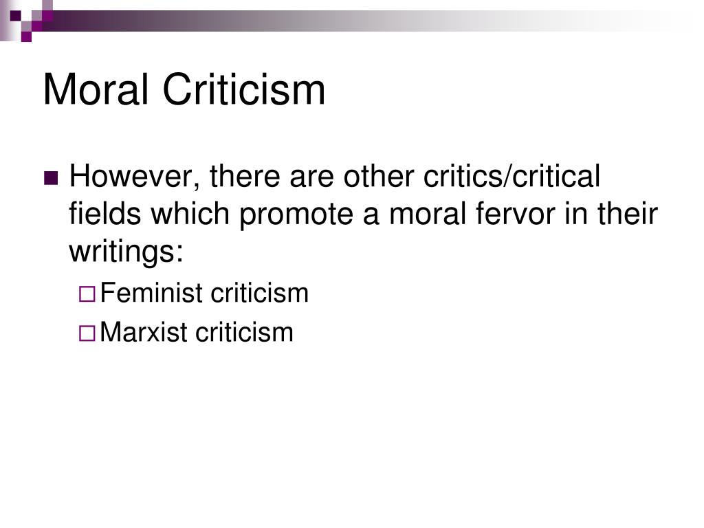 Moral Criticism