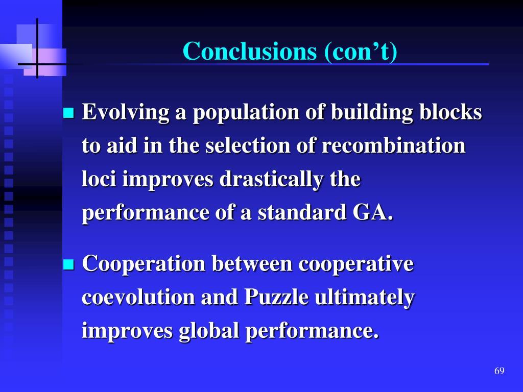 Conclusions (con't)
