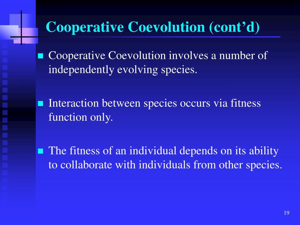 Cooperative Coevolution (cont'd)