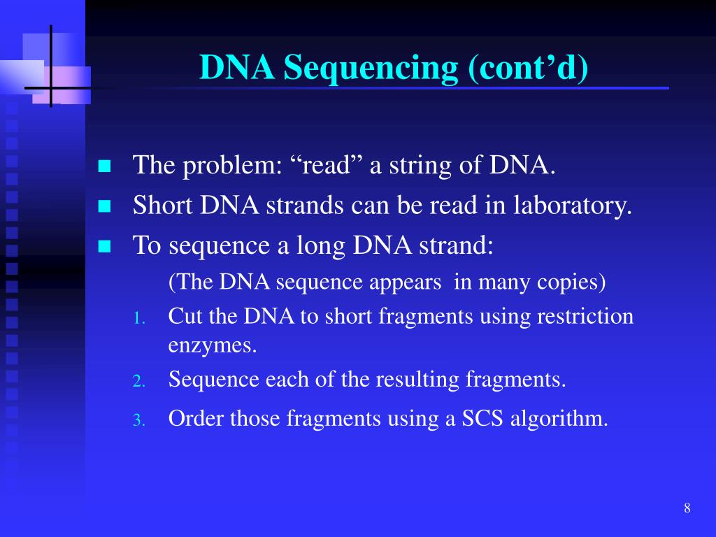 DNA Sequencing (cont'd)
