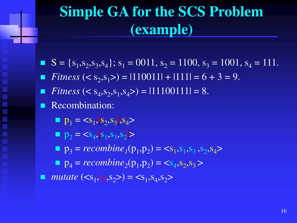 Simple GA for the SCS Problem (example)