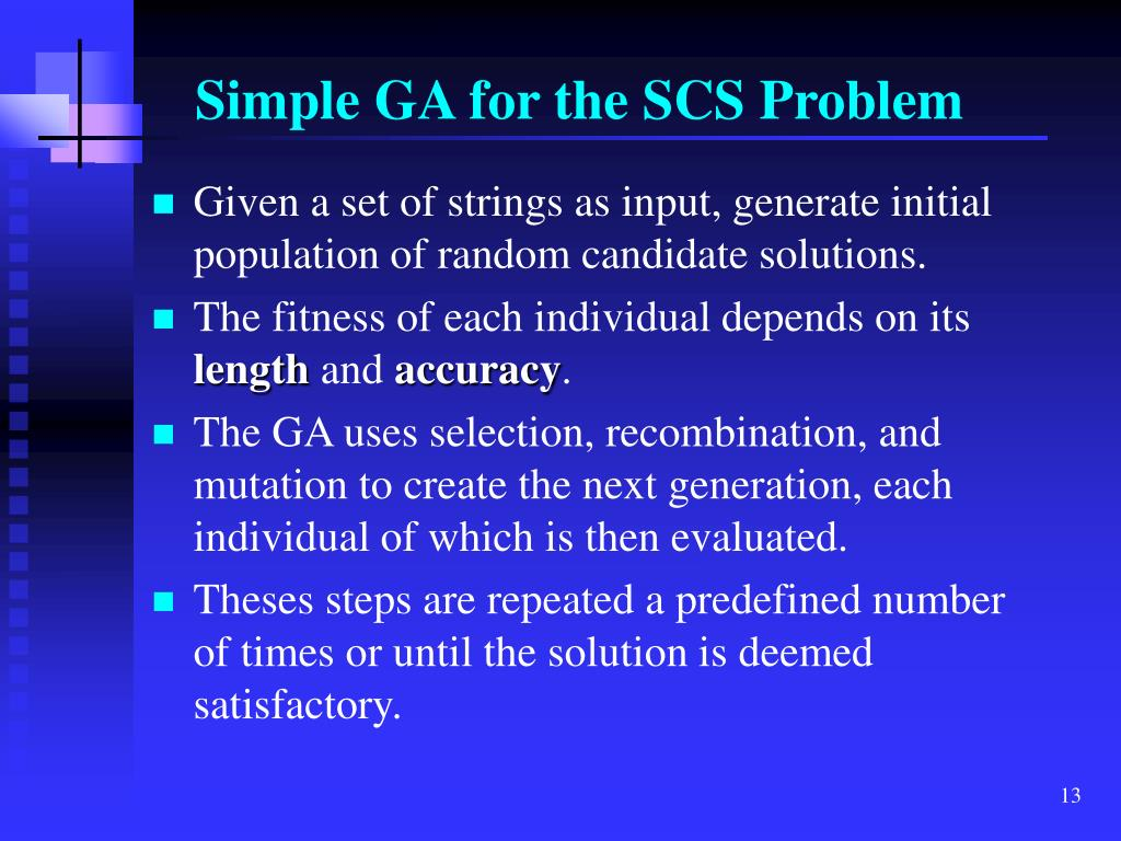 Simple GA for the SCS Problem