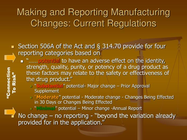 Making and Reporting Manufacturing Changes: Current Regulations