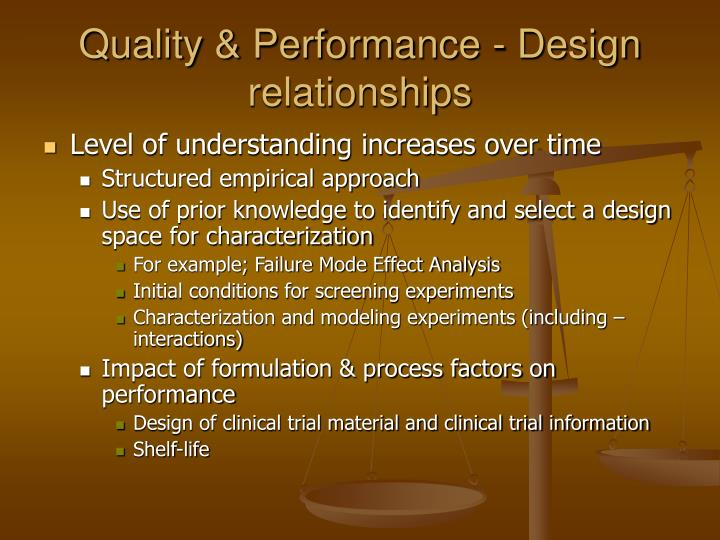Quality & Performance - Design relationships