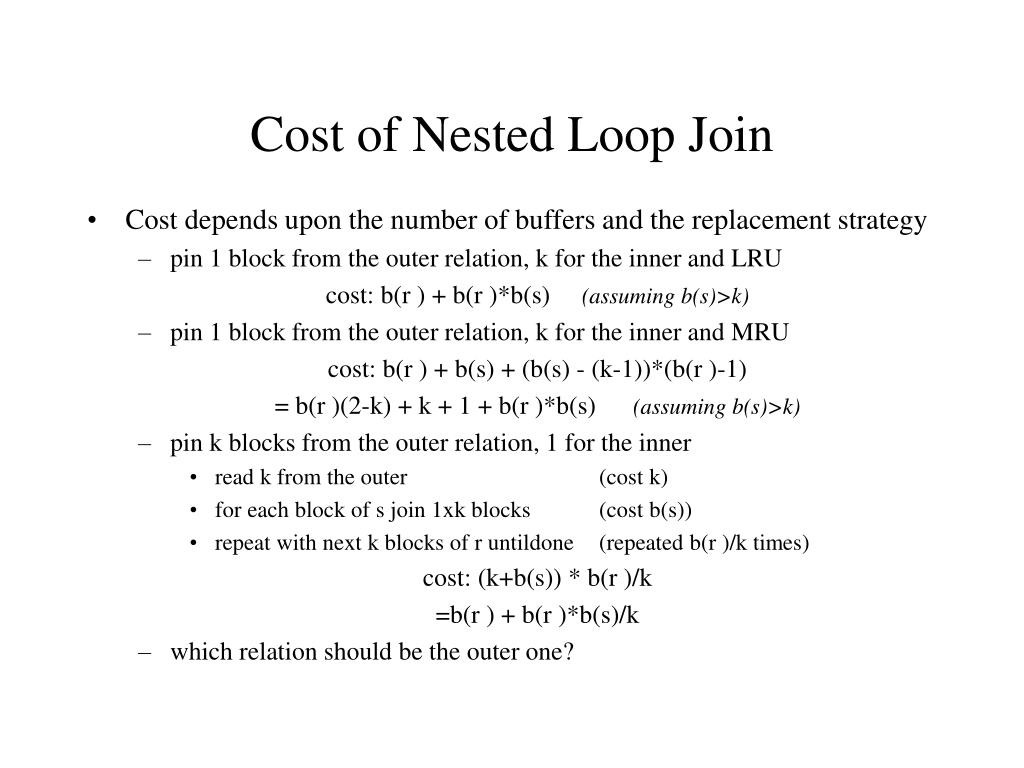 Cost of Nested Loop Join