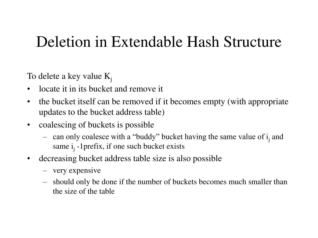 Deletion in Extendable Hash Structure