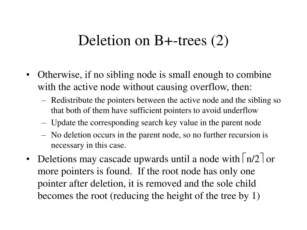 Deletion on B+-trees (2)