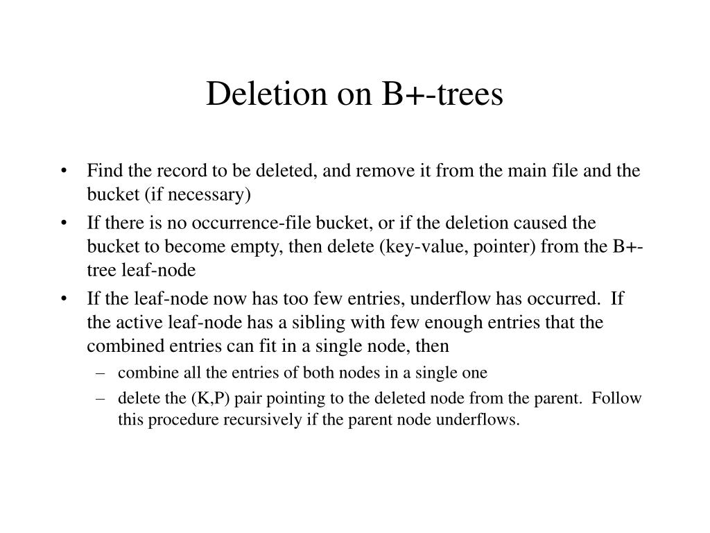 Deletion on B+-trees