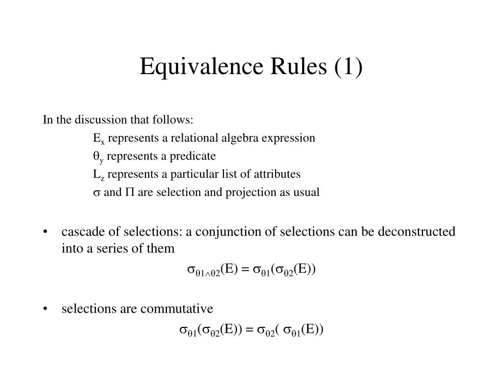Equivalence Rules (1)