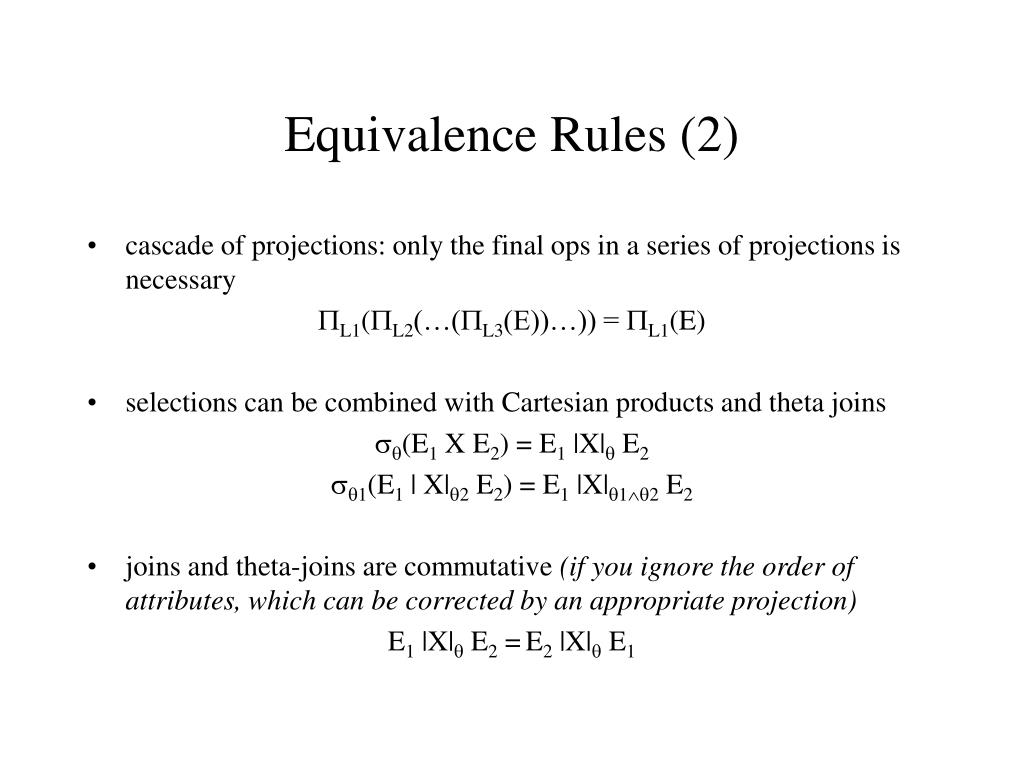Equivalence Rules (2)