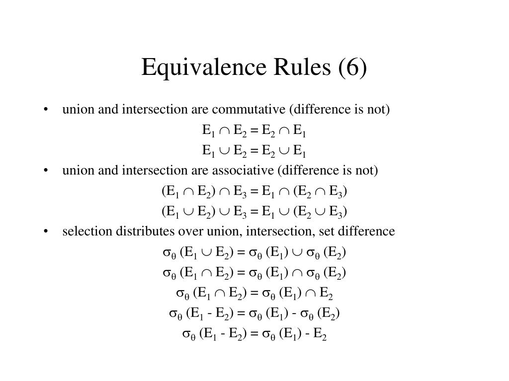Equivalence Rules (6)