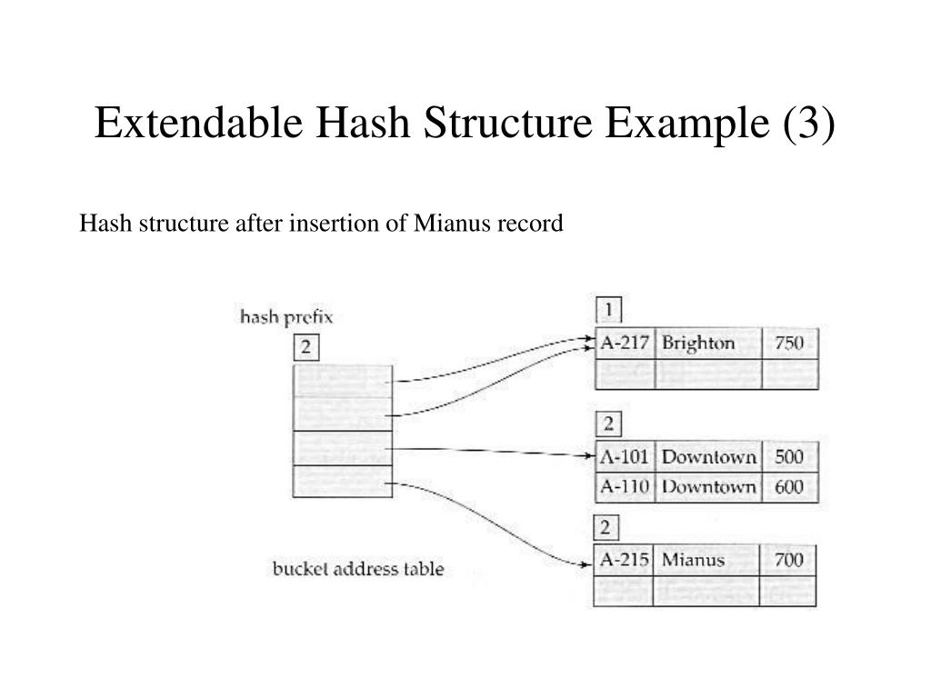 Extendable Hash Structure Example (3)