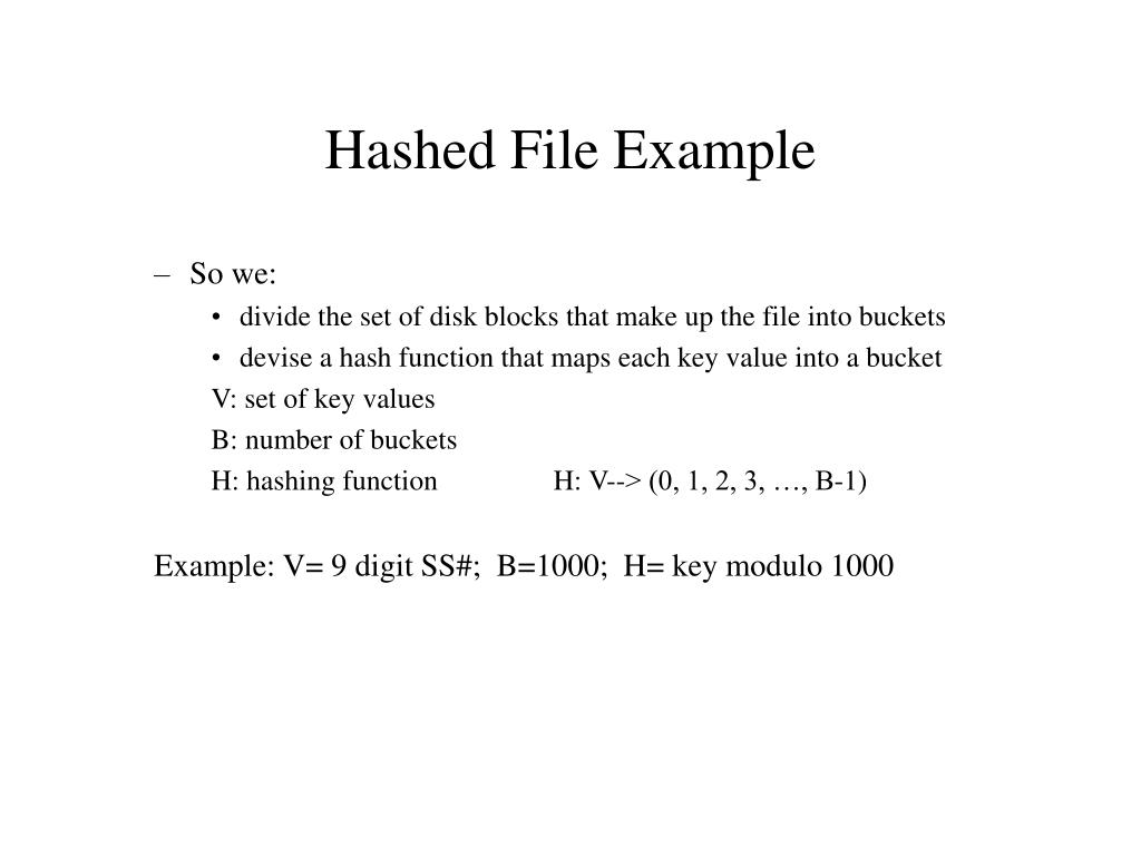 Hashed File Example