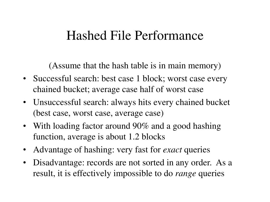 Hashed File Performance