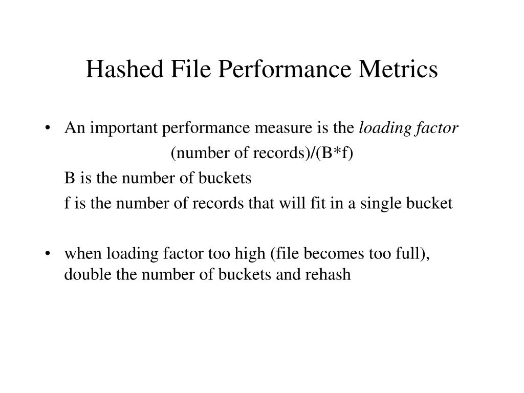 Hashed File Performance Metrics