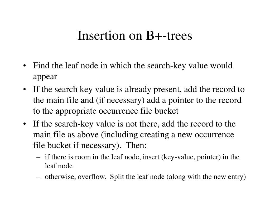 Insertion on B+-trees