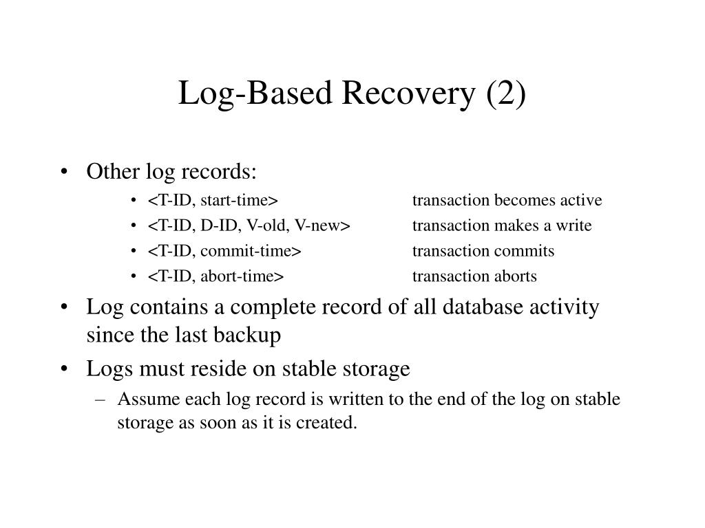Log-Based Recovery (2)