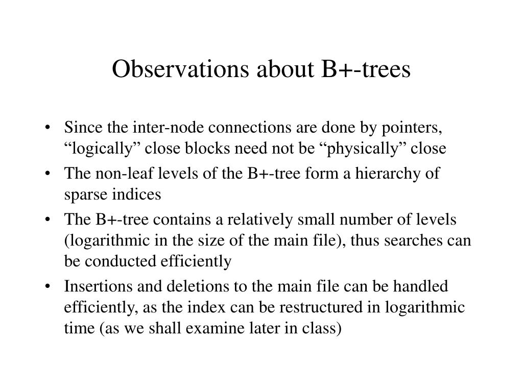 Observations about B+-trees