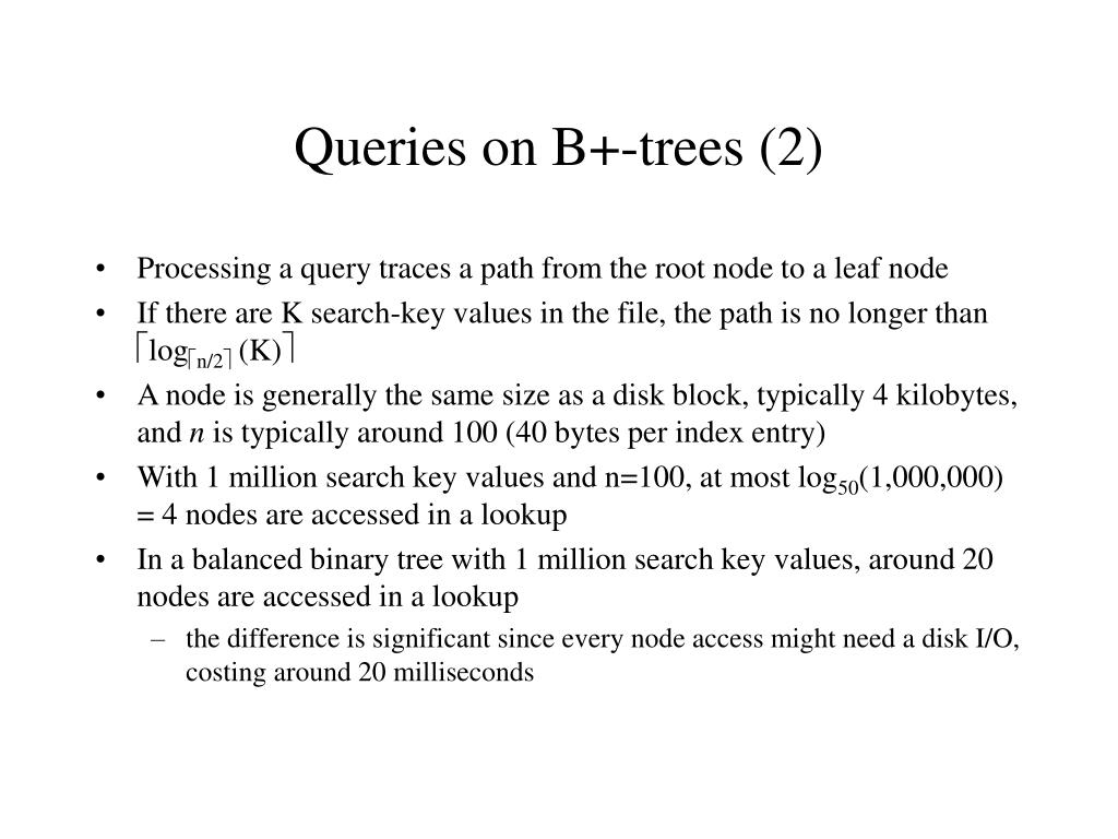 Queries on B+-trees (2)