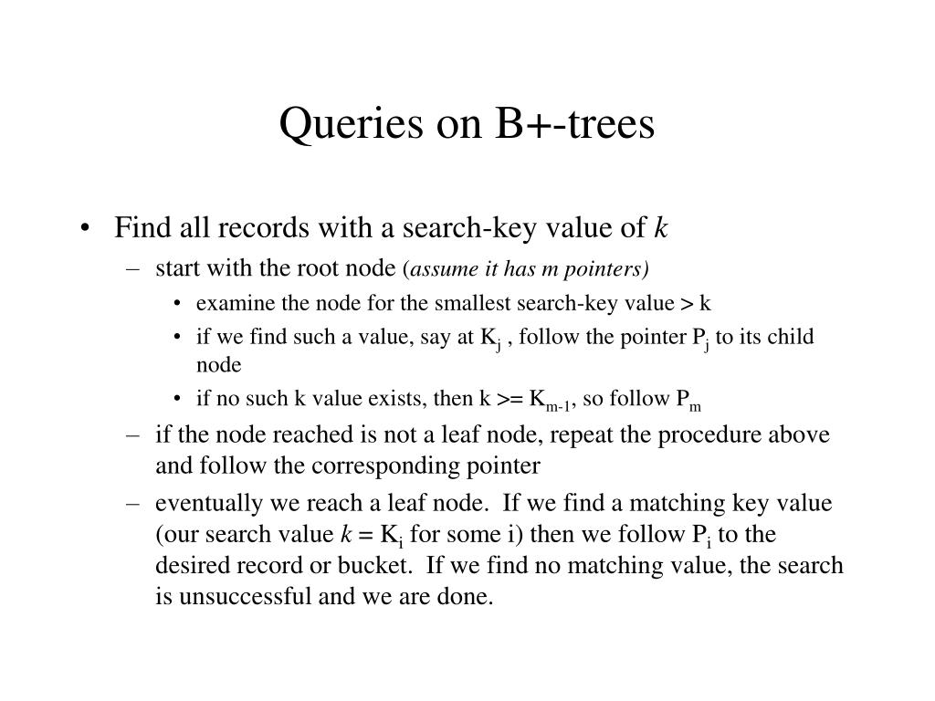 Queries on B+-trees