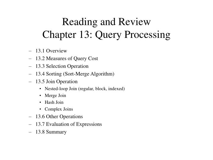 Reading and review chapter 13 query processing