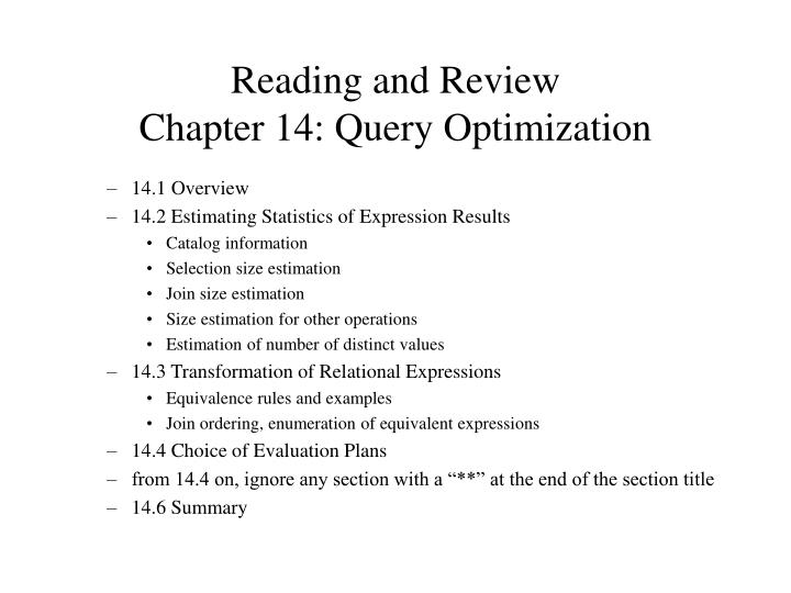 Reading and review chapter 14 query optimization