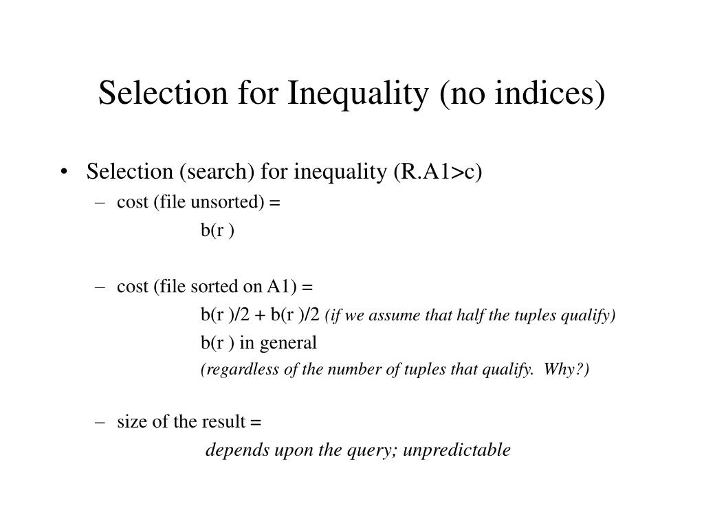 Selection for Inequality (no indices)