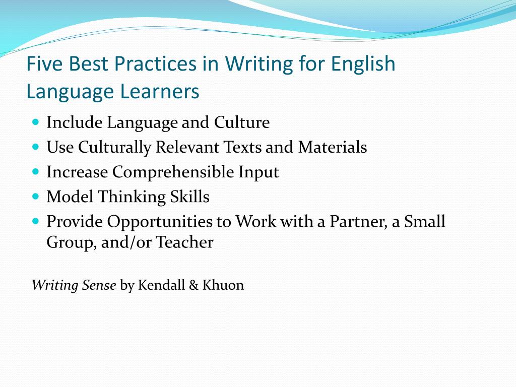 Five Best Practices in Writing for English Language Learners