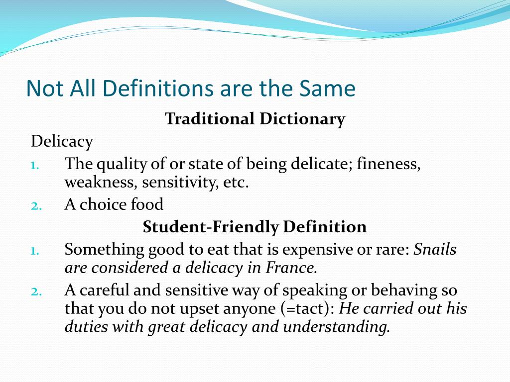 Not All Definitions are the Same