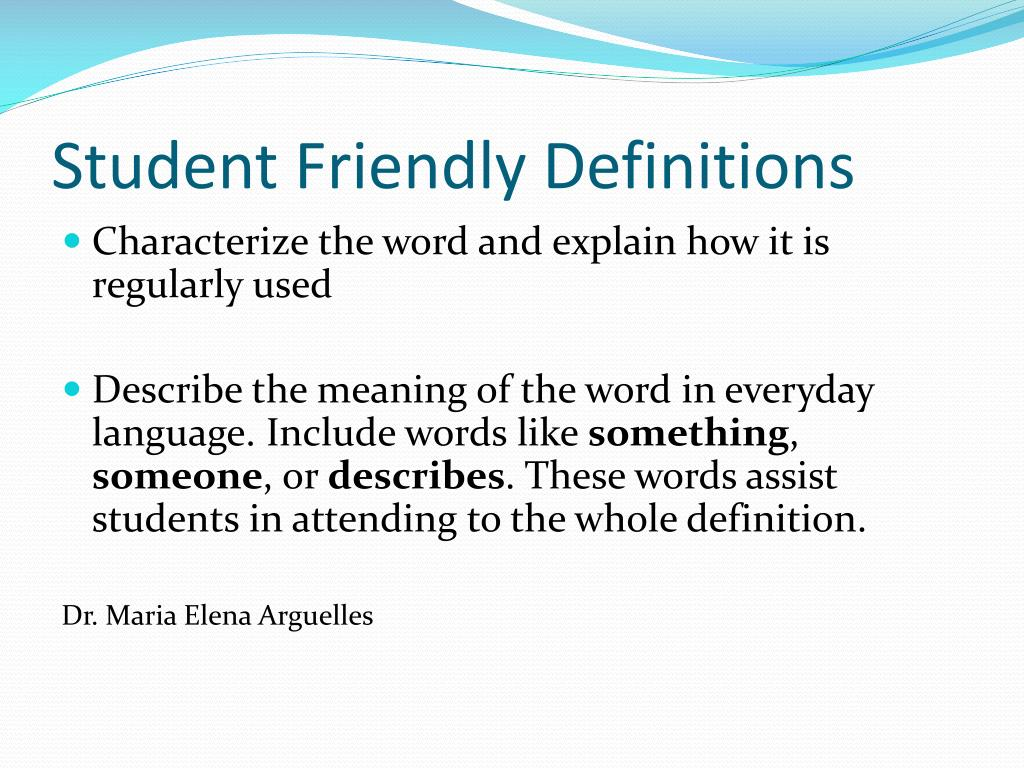 Student Friendly Definitions