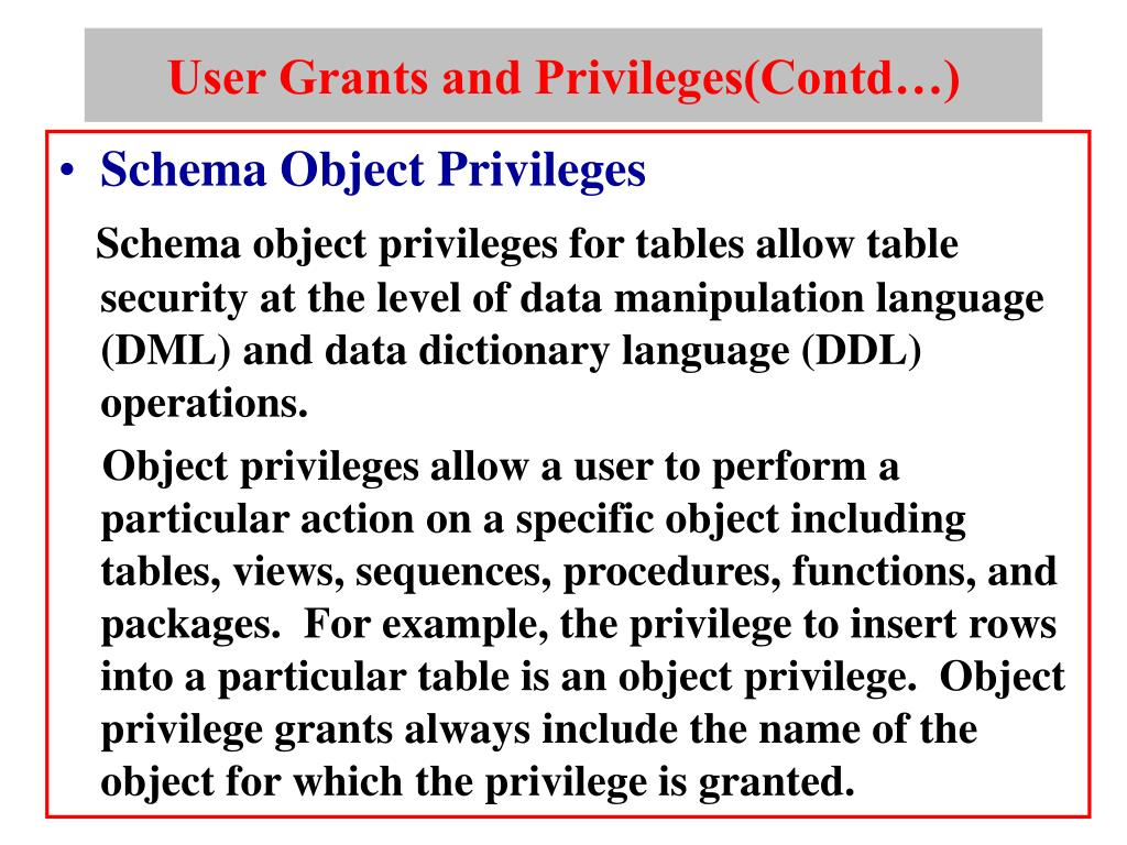 User Grants and Privileges(Contd…)
