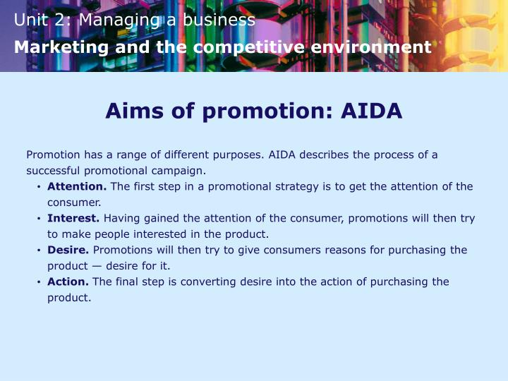 Aims of promotion: AIDA