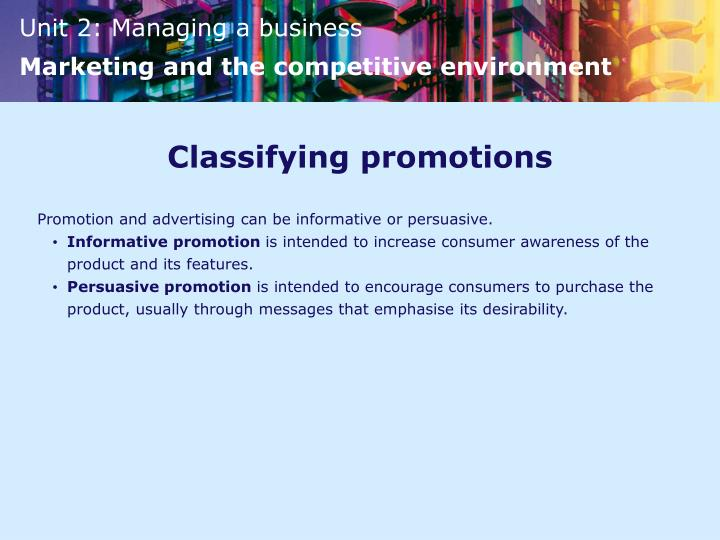 Classifying promotions