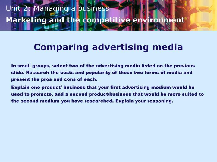 Comparing advertising media