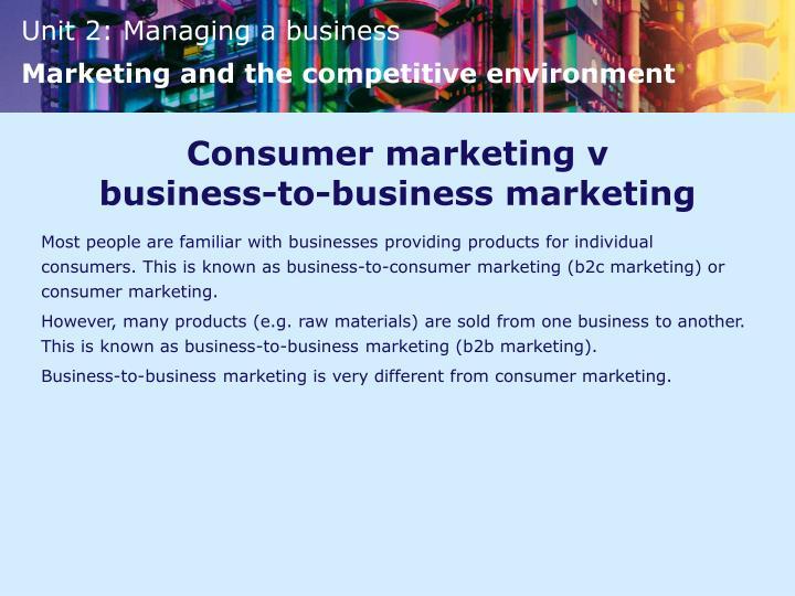 Consumer marketing v