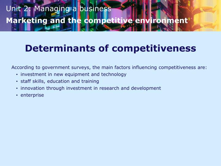 Determinants of competitiveness