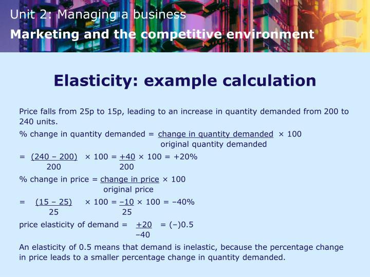 Elasticity: example calculation