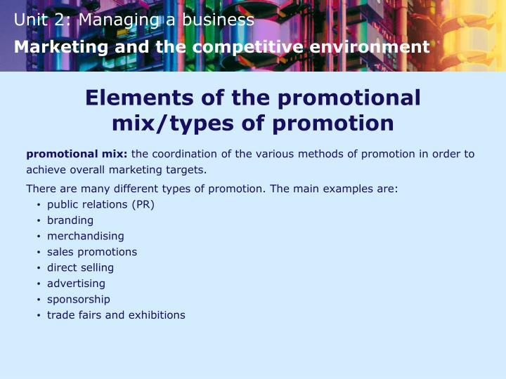 Elements of the promotional mix/types of promotion
