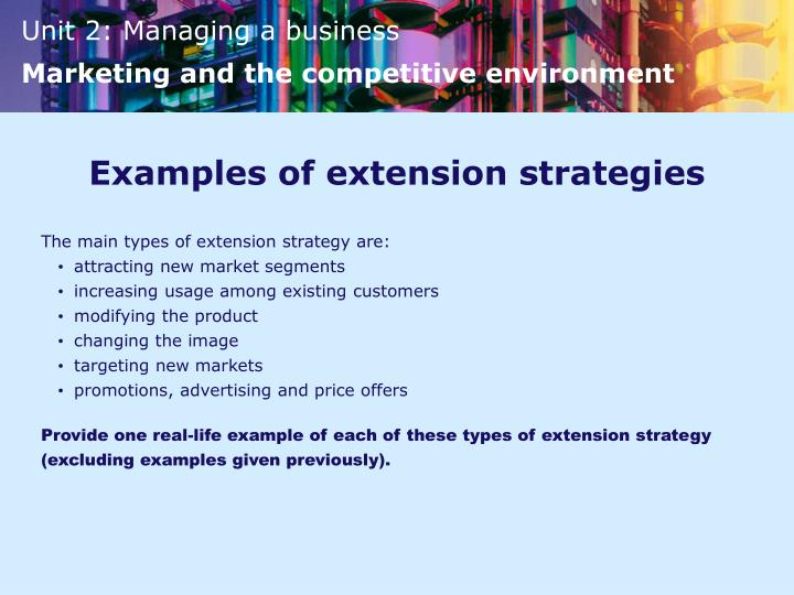 Examples of extension strategies