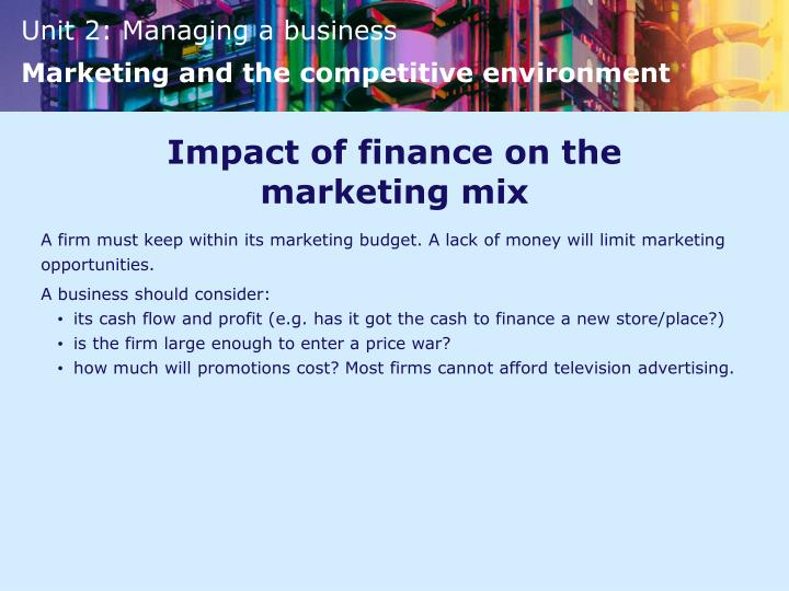 Impact of finance on the